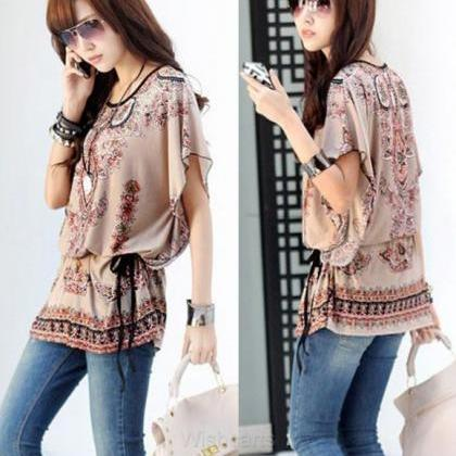 Casual Round Neck Blouse Loose Prin..