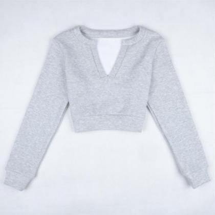 V-collar umbilical long-sleeved gre..