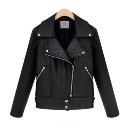 Black Vegan Leather Motto Jacket