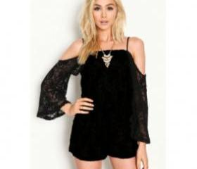 16bd275df25 Cheap Off-The-Shoulder Long Sleeves Solid Black Floral Lace One ...