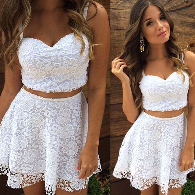 101d93de7caab1 White Floral Lace Two Piece Dress on Luulla