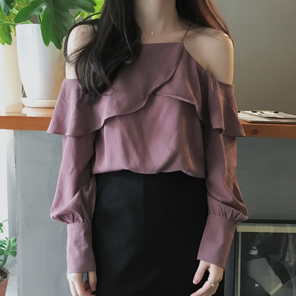 c914bd7366c Chic off Shoulder Long Sleeves Ruffles Purple Blouse Top Sexy Fashion