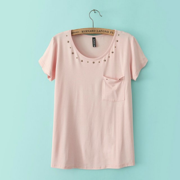 Cotton Basic Tee Featuring Stars Embellished Crew Neck and Front Pocket