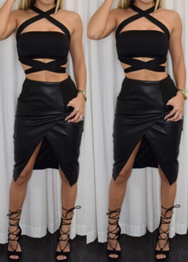 bf599a4e29a44d Criss Cross Front Black Sleeveless Crop Top ROS on Luulla
