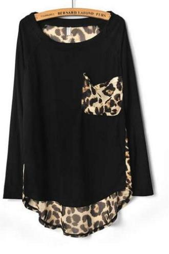 Black Leopard Print Chiffon Loose Long-sleeved Shirt