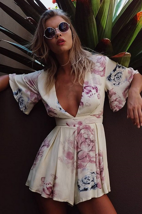 DEEP V FLORAL ROMPER PLAYSUIT