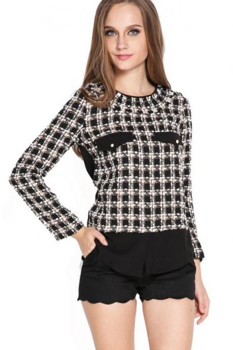 Stylish's Elegant Grid Pattern Splicing Long Sleeve Shirt Tops Blouse