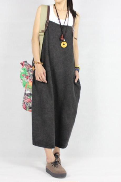 Plus Size Suspender Slacks Jumpsuit Pants