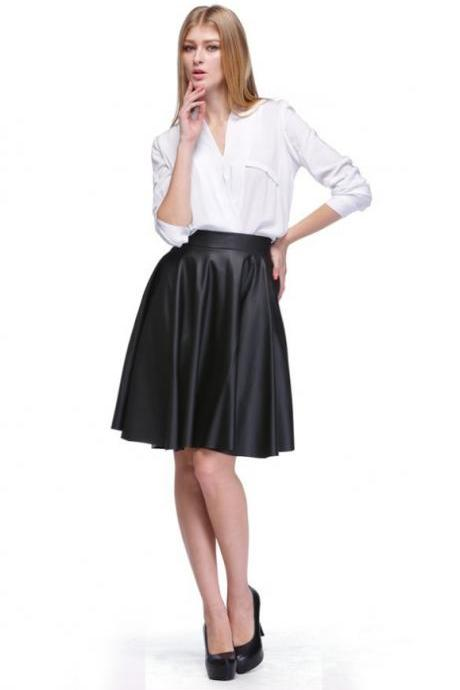 Girl Elastic High Waist Slim Pleated Faux Leather Midi Skirt