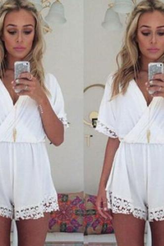 Cute White V-neck Lace Trimmed Romper