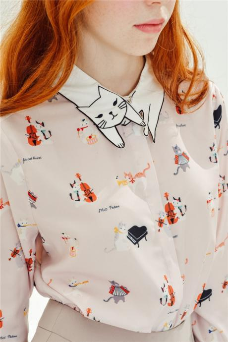 Cat Printed Button Down Shirt