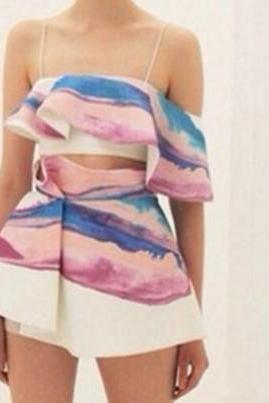 CUTE COLORFUL TWO PIECE SKIRT&TOP