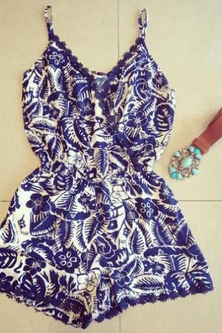 ON SALE CUTE TOTEM BLUE JUMPSUIT