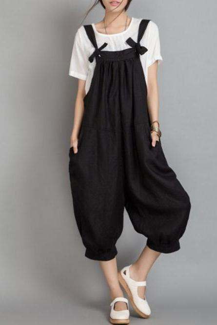 Ruched Wide Leg Pants Linen Overalls Dungaree Jumpsuits