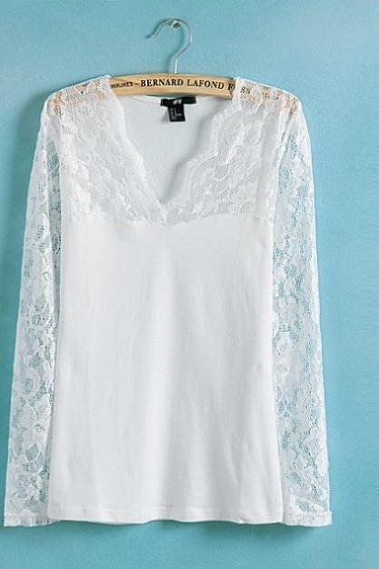 v-neck long-sleeved lace stitching Slim was thin compassionate bottoming shirt
