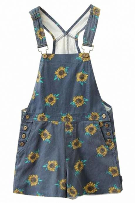 Sunflower Print Denim Overall Shorts