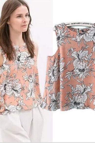 Pink Floral Print Chiffon Sleeveless Crew Neck Loose Blouse