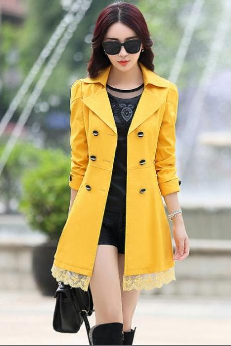 Lace Decoration Double Breasted Trench Coat Yellow