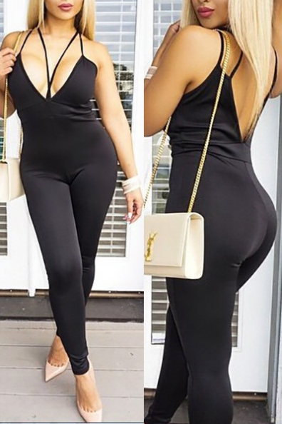 Spaghetti Straps Sleeveless Hollow-out Black Cotton Blends One-Piece Skinny Jumpsuits