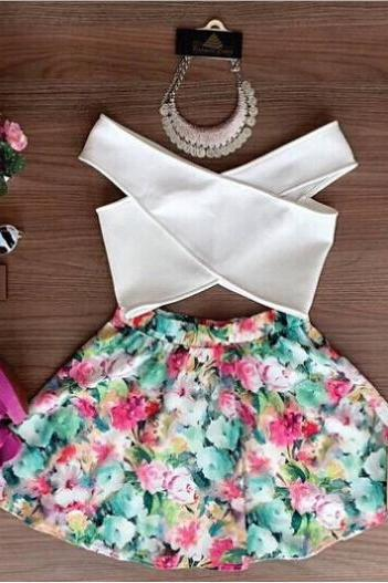 Sweet printing two-piece dress VC33024MN