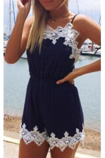 Lace Embroidery Navy Blue Strappy Romper