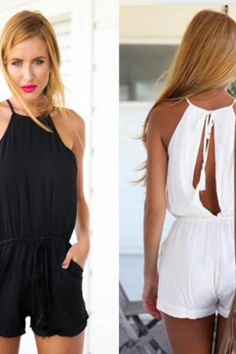 Drawstring Waist Solid Crimping Jumpsuit