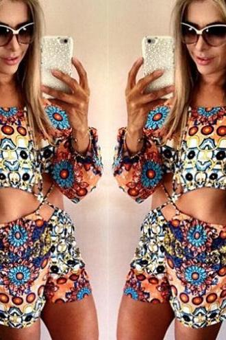 Hollow Out Long Sleeve Floral Print Jumpsuits