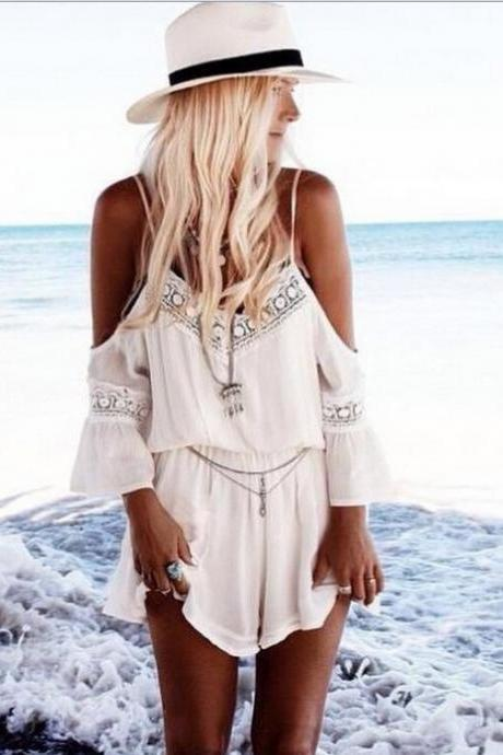 Off-Shoulder White Romper with Lace