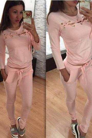 2017 Sportswear Autumn Tracksuits Long-sleeve Casual Sport Suit Costumes 2 Piece Set Jogging Suits Fitness Tops NZ106