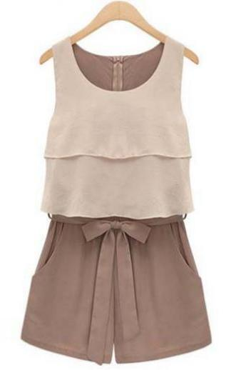 Sleeveless Color Blocking Rompers with Bow Light Brown