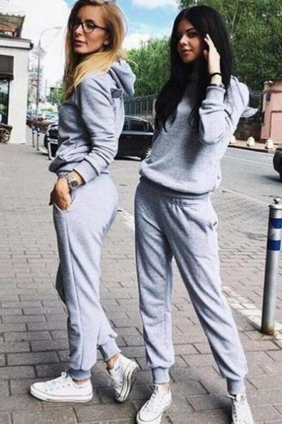 personality back wings hooded hedging two piece jumpsuit Grey