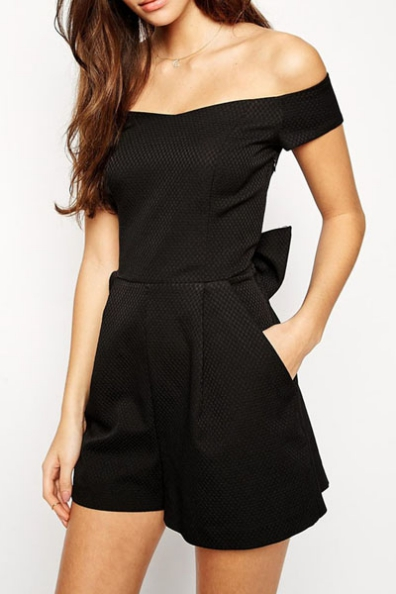 Short-sleeved Off-the-shoulder Romper with Back Bow Accent Detailing