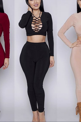 SPLIT TWO-PIECE LONG-SLEEVED CHEST STRAP PIECE PANTS