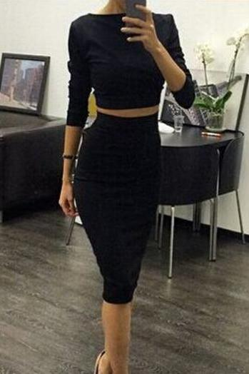 Two Piece Black Top&Bodycon Skirt ROS