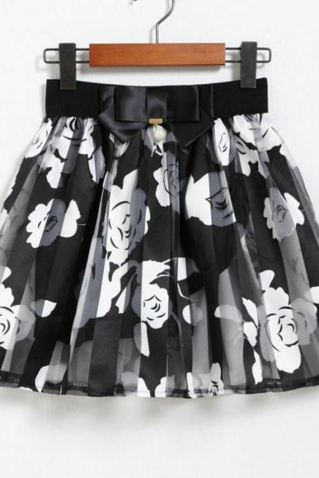 Pleated Floral Printed Sheer Tulle Skirt - Black