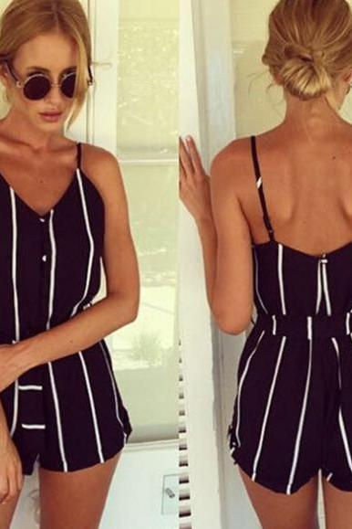 Striped Summer V-neck Overall Jumpsuit