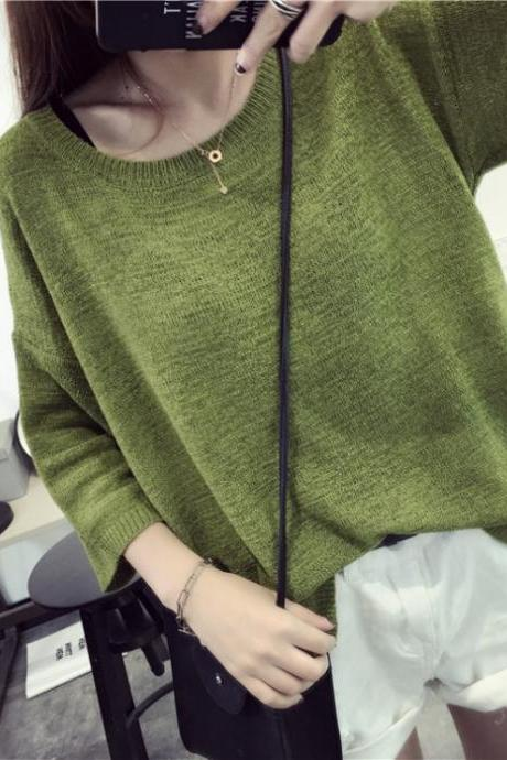 Women Summer Fashion 3/4 Long Sleeve Round Neck Irregular Hem Casual Thin Knitted T-shirt Top One Size