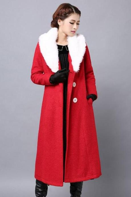 Christmas Red Wool Overcoat with Large Fur Collar