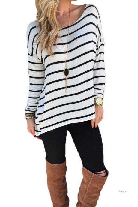 Ladies Women Casual Loose Striped Top O-Neck Long Sleeve Leisure Blouse SV029131