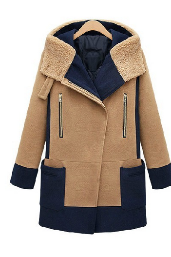 Winter In Europe And America Wool Tweed Coat Splicing Hit Color Coat Large Size