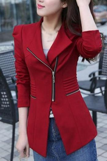 Fashion Long Sleeve Zipper Closure Red Blazer