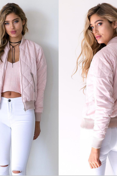 Quilted Long Sleeves Bomber Jacket