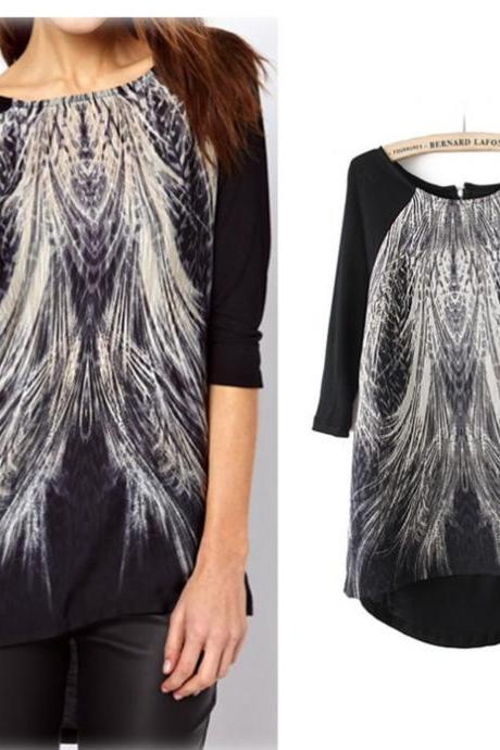 Loose Peacock Tail Printed Asymmetric T-Shirt