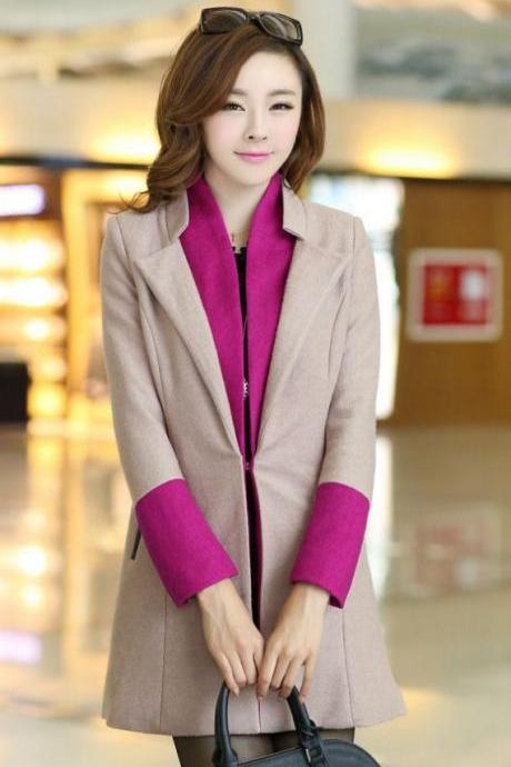 Free Shipping High Quality Wool Jacket Beige Jacket-Beige Winter Coat for Women