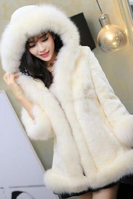 Hooded fox fur collar and long sections BNVB