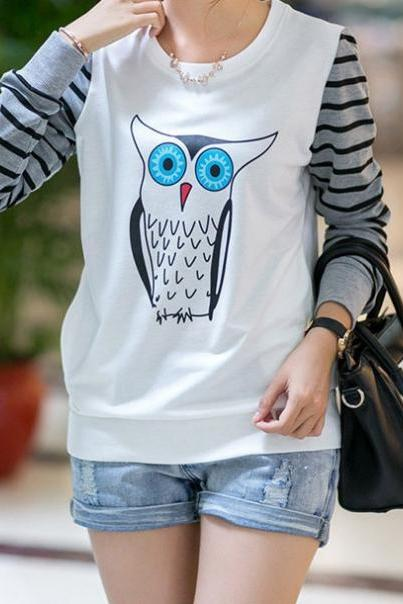 Owl Pattern Printing Sweater