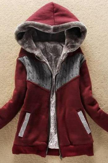 Fashion New Arrival Hooded Collar Woman Coat with Zip - Wine Red