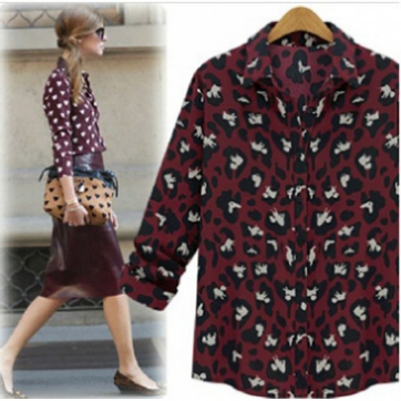Cheap Style Turndown Collar Long Sleeves Single-breasted Patchwork Ivory Print Wine Red Shirt