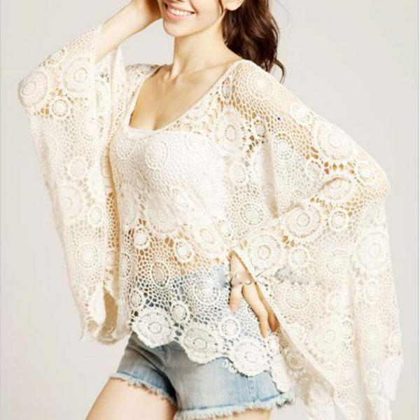 Vintage Sweet Lace Floral Hollow Crochet Loose Batwing Blouse Shirt Tops