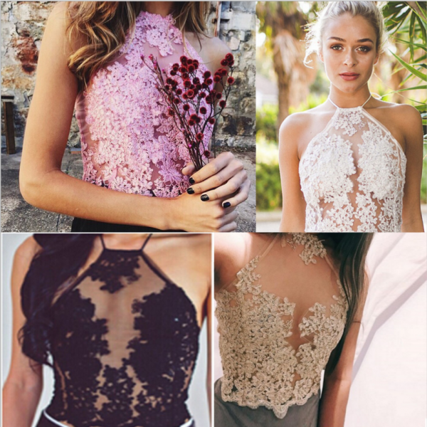 Sexy hollow lace embroidery para Halter Spaghetti Top Female